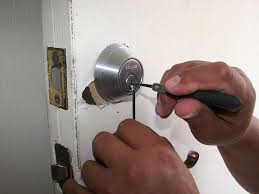 image of a deadbolt lock being installed