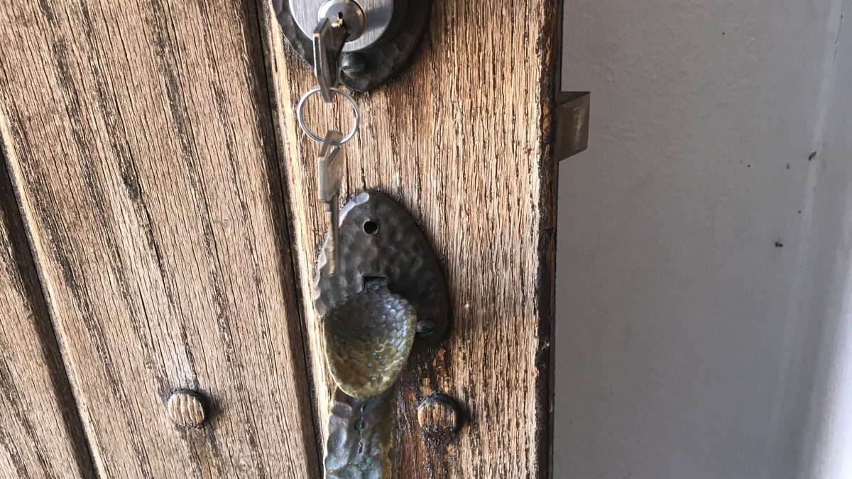 image of a 100 year old door set to be restored